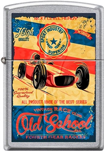 Zippo Old School Vintage Race Club 4th Gear Racers Poster Street Chrome Lighter 0