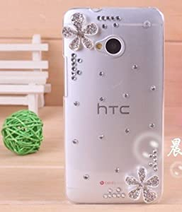 2013 Hotsale! Transparent Rhinestone Crystal for HTC One (M7) Case with Flower