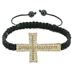 Pugster Black Lace Style Silver Iced Out Topaz Yellow Crystal Sideways Cross Macrame Adjustable Bracelet