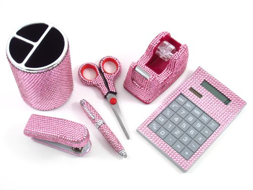 6 Piece Pink Crystal Office Supply Set: Pen Holder,