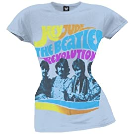 Beatles Hey Jude Revolution Ladies Blue Lightweight T-Shirt
