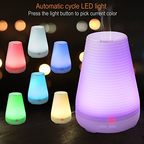 Essential Oil Diffuser, Eonfine 100ml Aromatherapy Oil Diffuser Ultrasonic Mist Air Humidifier with 7 Color Changing LED Light, Portable Aromatherapy Diffuser for Home, Office, Bedroom,baby Room
