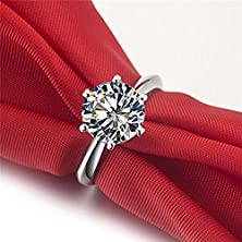 buy 3Ct Round Brilliant Nscd Sona Simulated Round Brilliant Cut Diamond Solitaire Wedding Engagement Ring