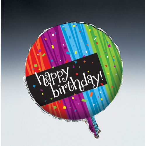 Creative Converting Party Decoration Round Metallic Balloon, Happy Birthday