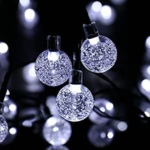 icicle solar christmas string lights bubble. Black Bedroom Furniture Sets. Home Design Ideas