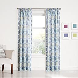 No. 918 Callie Paisley Heathered Print Curtain Panel, 40 by 84-Inch, Lapis