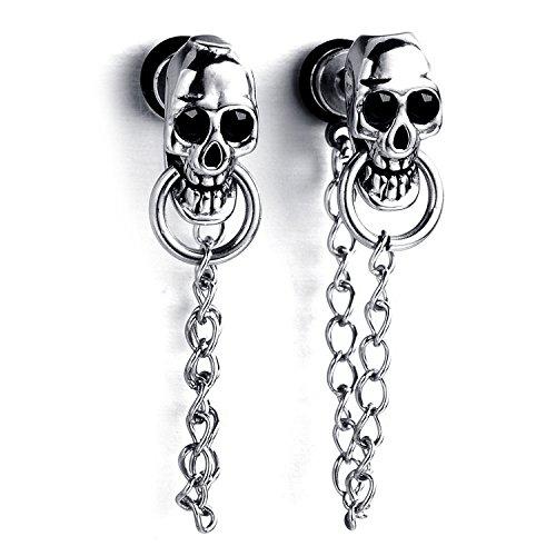 MENDINO da uomo donna teschio gotico catena pendenti argento in acciaio inox Orecchini a perno con regalo pouth