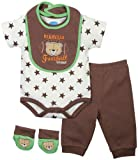 BON BEBE Baby-Boys Newborn Bearville Football 4 Piece Pant Set