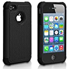 Pasonomi iPhone 4 Case-Premium Heavy Duty Hybrid Shockproof Water Dust Resistant Armor Cover for Apple iPhone 4S/4 (Black)