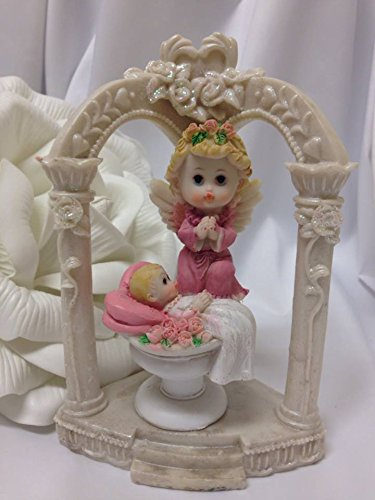 Angel Girl In Arch Column Figurine Baptism Cake Topper Centerpiece Decoration front-1043009