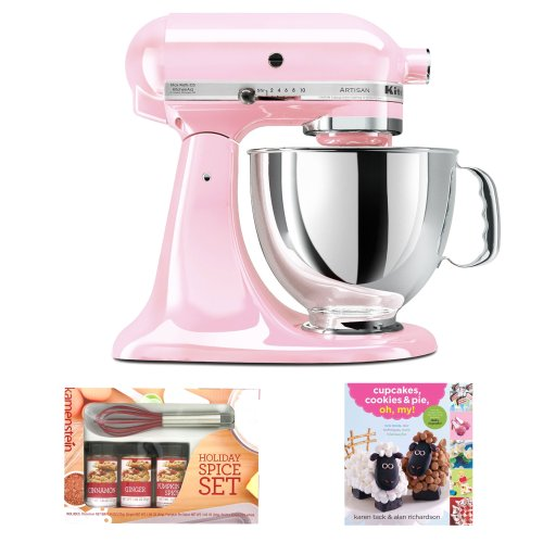 Kitchenaid Ksm150Pspk Artisan Series 5-Quart Tilt-Head Stand Mixer In Pink W/ Mini Whisk Spice Set & Cooking Book
