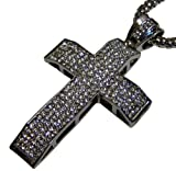 Ultimate Bling 3D Micropave HipHop Cross & chain - Silver Plated