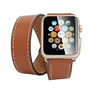 House of Quirk House of Quirk Hermes Long Wrap Apple Watch Strap, Premium Genuine Leather Band for Iwatch, Double Tour Bracelet for Apple Watch Brown