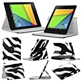 Stuff4 MR-NX7-2-L360-PAT-ZEB-STY-SP Zebra Designed Leather Smart Case with 360 Degree Rotating Swivel Action and Free Screen Protector/Stylus Touch Pen for 7 inch Google Nexus 7