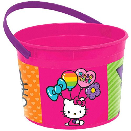 Amscan Adorable Hello Kitty Rainbow Birthday Party Favor Plastic Container (1 Piece), Pink/Purple, 4 1/2 x 6 1/4""