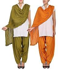 Womens Cottage Combo Pack Of 2 Pure Cotton Semi Patiala & Cotton Dupatta With Lace Set - B018PBI6X8