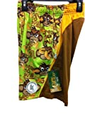 Shorts See Speak Hear Flow No Evil Monkey Banana Brown Green Gold Youth Medium
