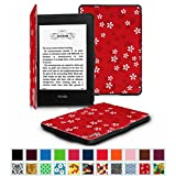 Fintie Amazon NEW-Kindle Paperwhite (2015) と Kindle Paperwhite (第6世代) カバー 最も薄く、最軽量の保護 レザー ケース マグネット機能搭載【Kindle Paperwhite All Generation専用】(花柄x桜(紅))