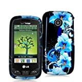 Blue Flower Design Crystal Hard Skin Case Cover for LG Cosmos Touch VN270 P ....
