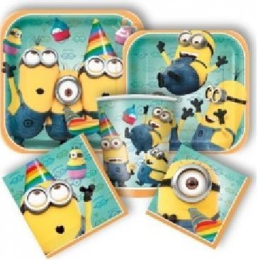 Deluxe Despicable Me 2 Minions Birthday Party Pack for 8 Guests with Tablecover and Minion Stickers