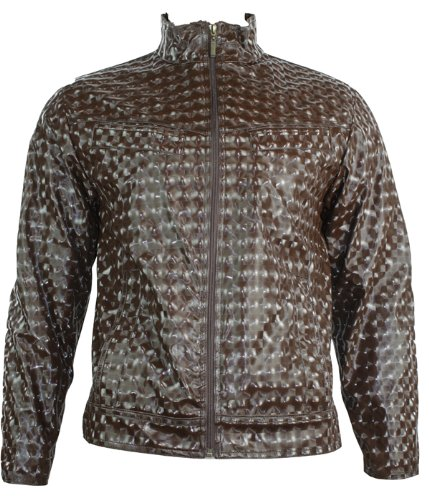 Mens Biker Style Shiney Jacket Reflective Party Wear Black Brown Grey