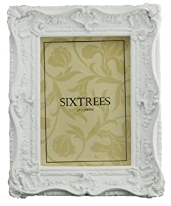 "Shabby Chic Style Very Ornate White Photo Frame for 7""x5"" (175x125mm) Pictures"