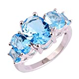 Psiroy 925 Sterling Silver Stunning Created Gorgeous Women's 8mm*10mm Pear Cut Blue Topaz Filled Ring