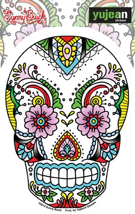 """Sunny Buick, Old Skool Flowers & Lace Sugar Skull STICKER ADESIVO DECAL - 3.75"""" x 5"""" Die-Cut - Weather Resistant, Long Lasting for Any Surface"""