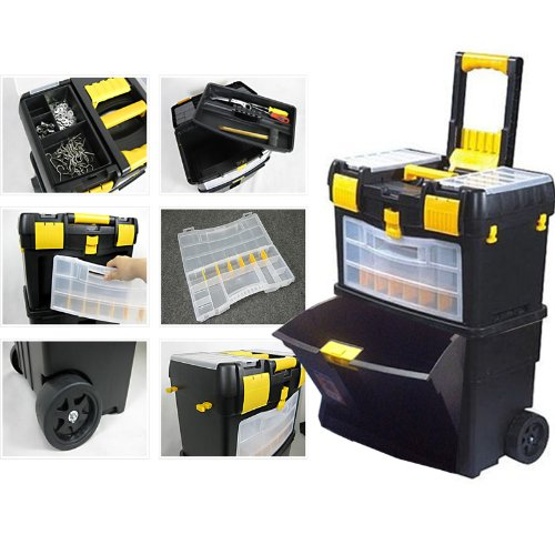 SOVI - MOBILE ROLLER WORK SHOP 2 IN 1 TOOL CHEST BOX TOOLBOX COMPARTMENT TROLLEY CART STORAGE BOX
