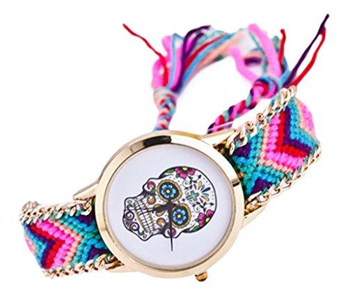 la-vogue-montre-quartz-bracelet-bresilien-femme-tete-de-mort-tresse-multicolore-chaine-fine-modele-2