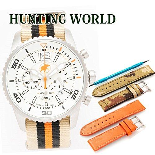 ハンティングワールド HUNTING WORLD 時計 腕時計 メンズ クロノグラフ Zefiro ゼフィロ 交換用バンド付 オレンジ HW019OR