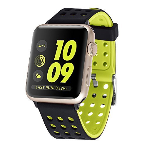 Huishang Sport Bands for Apple Watch Series 1 Series 2 Nike+, SmartWatch Accessories , Classic Buckle , Wrist Straps , Replacement Band (42mm Black/Volt) [並行輸入品]