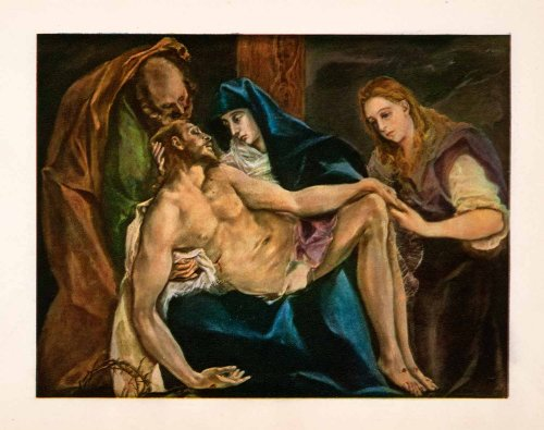 1937 Photolithograph Painting Pieta Christ Dead Virgin Mary Greco Toledo Spain - Orig. Photolithograph