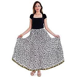 Kiran Udyog Jaipuri Floral and Leafy Print Design Pure Cotton Skirt 145