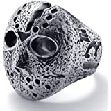 KONOV Jewelry Vintage Biker Mens Halloween Jason Mask Stainless Steel Ring Band, Silver