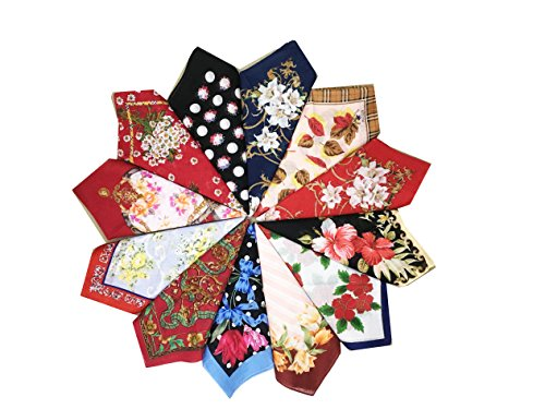 USM Mix Lot Flroal Retro Style Cotton Handkerchiefs for Women- 16