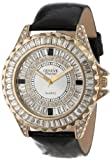 Geneve Elegante Unisex 5154_gold/blk Swarovski Crystal Leather Watch