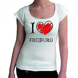 I love Freiburg Fun Damen Boat Neck T-Shirt