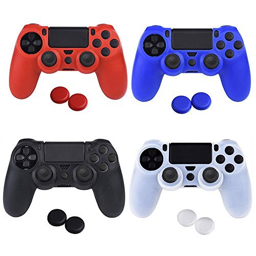 YTTL® 4 Colors Silicone Skin Protector Cover Case for PS4 Controller with 4 Pairs of Matching Thumb Grips (Ps4 Controller Case Cover compare prices)