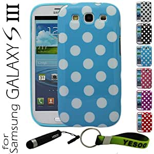 YESOO Light Blue Polka Dots Flex Gel Case For Samsung Galaxy S3 i9300 3Pcs Screen Protectors With YESOO Aluminum Touch Pen And Silicone Key Chain (Compatible with Samsung Galaxy S III GT-i9300 AT&T Samsung Galaxy S3 Samsung i747 Verizon Samsung Galaxy S3 Samsung i535 T-mobile Samsung Galaxy S3 Samsung T999 U.S. Cellular Samsung Galaxy S3 R530 and Sprint Samsung Galaxy S3 Samsung L710 me