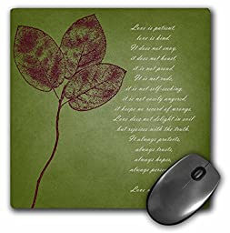 3dRose LLC 8 x 8 x 0.25 Inches Mouse Pad, Red Leaves inspirational Love Is Patient Love Is Kind Bible Verse (mp_99339_1)