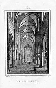 Freiburg im Üechtland Kathedrale Dom Schweiz Suisse Original Stahlstich