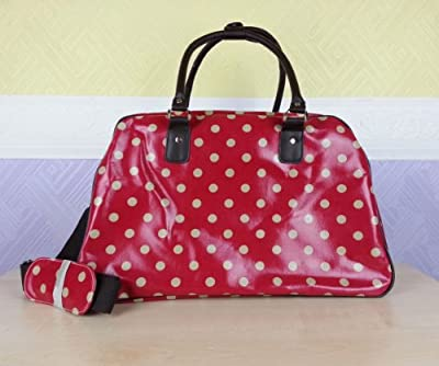 Oilcloth Polka Dot/Flower/Owl Print Holdall Weekend Travel Bag (POLKA DOT RED)