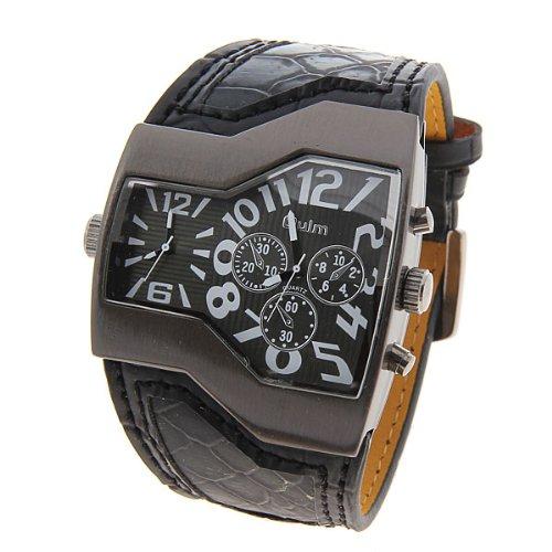 20 Black Ellipse Clip Body Dual Time Zone New Quartz Hours Men Analog Leisure Wrist Watch