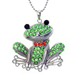 """Crystal Green Happy Frog Pendant Necklace, 24"""""""
