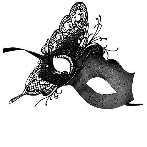 [Party Masks, Cozypony Elegant Princess Butterfly Laser Cut Metal Venetian Masquerade Masks for Halloween Mardi Gras Party or Prom (One Size, Black White] (Vinyl Halloween Costumes Mask)