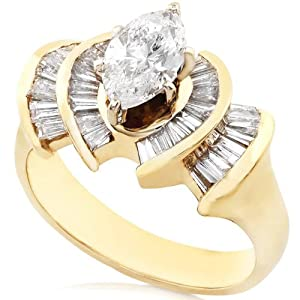One of a Kind 2.00ctw Marquise & Baguette Diamond Ring (G/SI) in 14Kt Gold