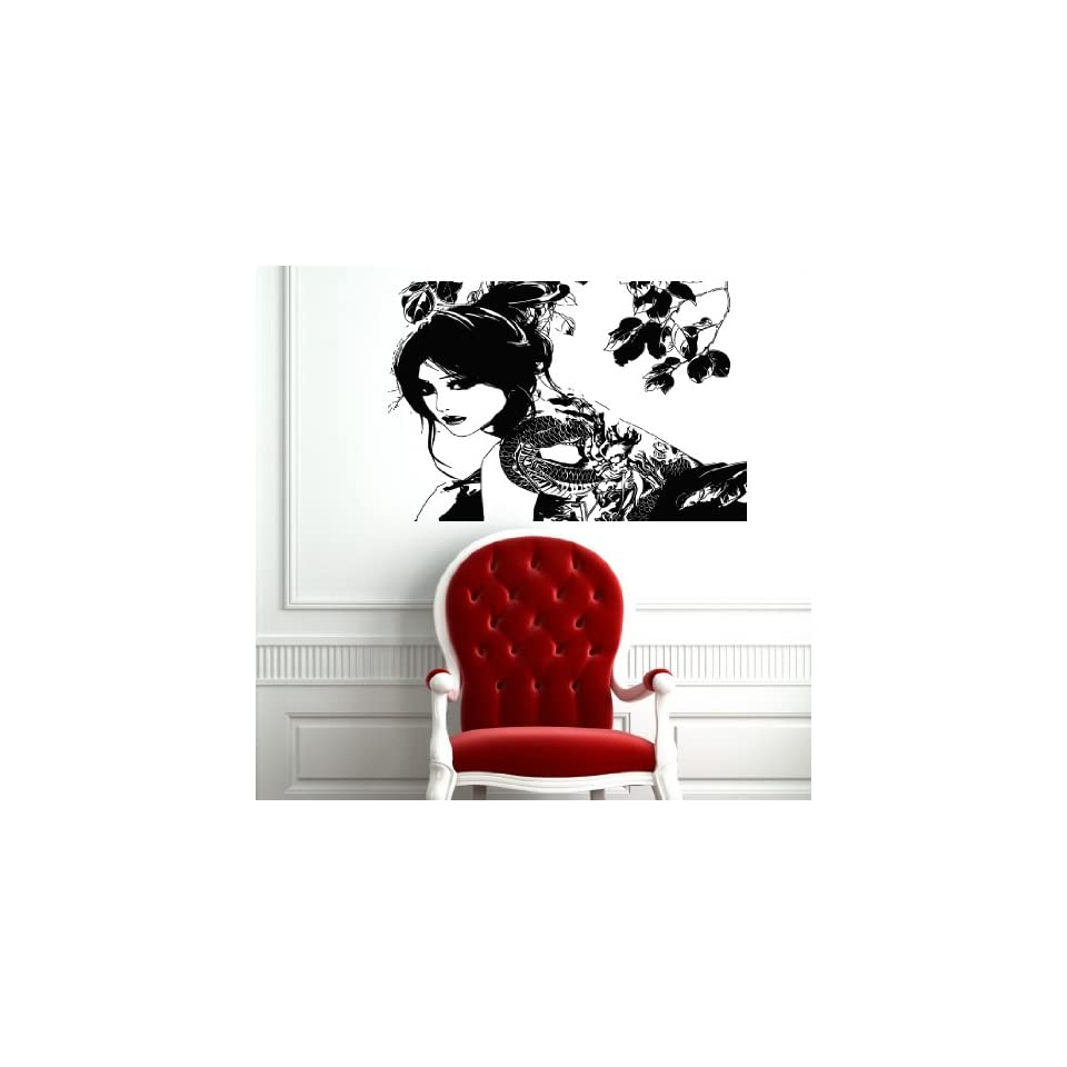 Wall Mural Vinyl Sticker Decal Sexy Japanese Girl and Tattoo with Dragon Co791