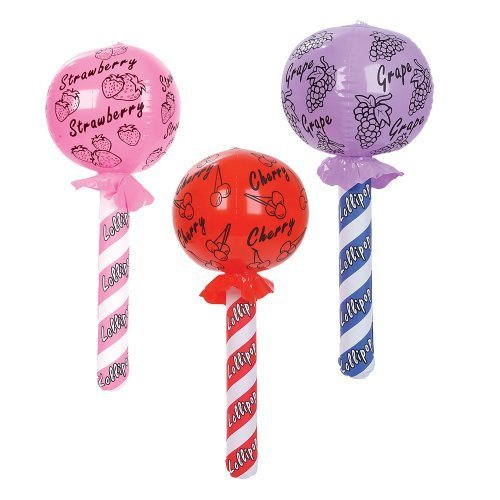 "1 X ~ 12 ~ Lollipop Inflatables ~ Approx. 24"" ~ New in Sealed Packages ~ Party Favors Decorations Carnival"