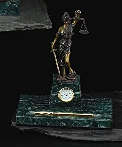 Sale- Legal Pen Holder w/ Clock - Bronzed Metal on Marble
